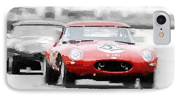 Jaguar E-type Racing Watercolor IPhone Case by Naxart Studio