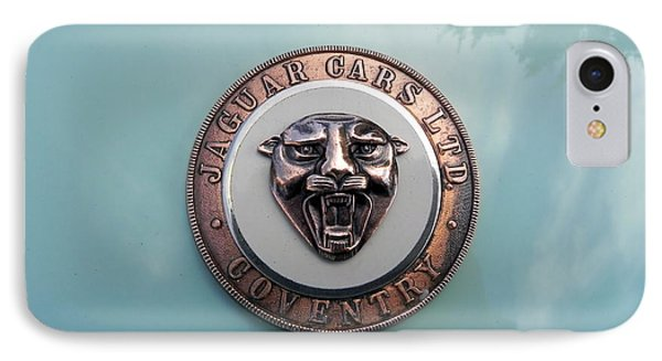 IPhone Case featuring the photograph Jaguar Hood Emblem by Cheryl Hoyle