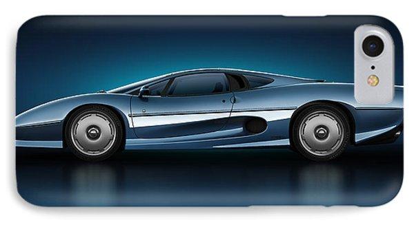 IPhone Case featuring the digital art Jaguar Xj220 - Azure by Marc Orphanos