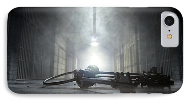 Jail Corridor And Keys IPhone Case by Allan Swart