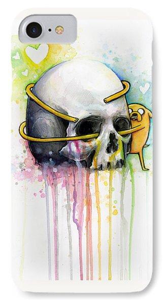 Jake The Dog Hugging Skull Adventure Time Art IPhone Case by Olga Shvartsur