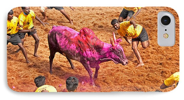 IPhone Case featuring the photograph Jallikattu Bull Fighting by Dennis Cox WorldViews