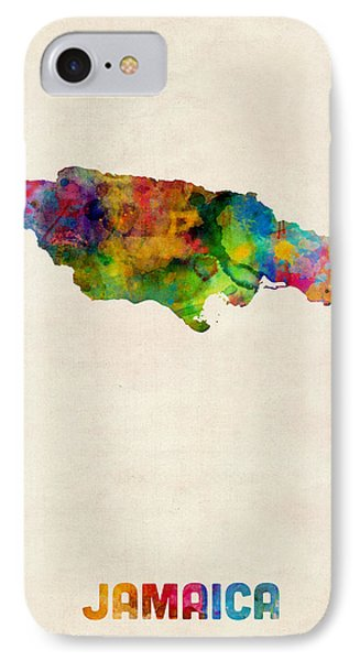 Jamaica Watercolor Map IPhone Case by Michael Tompsett