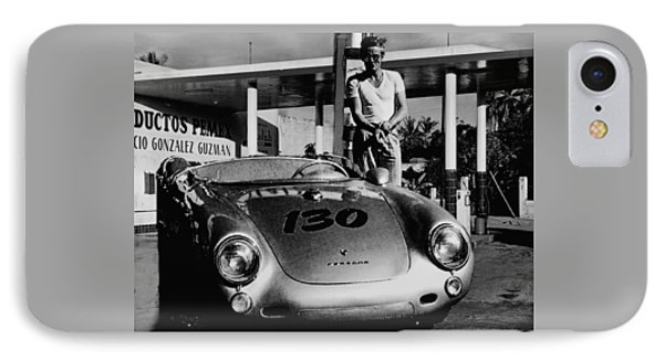 James Dean Filling His Spyder With Gas In Black And White IPhone Case by Doc Braham