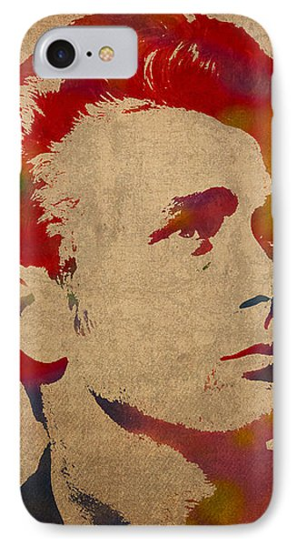 James Dean Watercolor Portrait On Worn Distressed Canvas IPhone Case by Design Turnpike