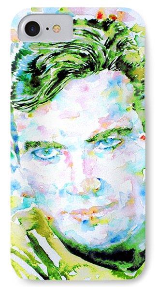 James T. Kirk - Watercolor Portrait Phone Case by Fabrizio Cassetta