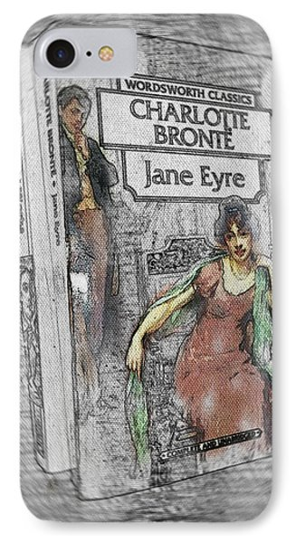 IPhone Case featuring the painting Jane Eyre Book Abstract by Nik Helbig