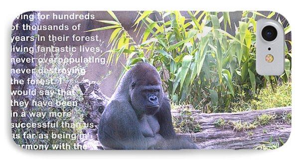 Jane Goodall Gorilla IPhone Case by Barbara Snyder