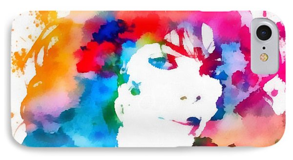 Janet Jackson Watercolor Paint Splatter IPhone Case by Dan Sproul