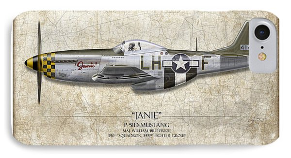 Janie P-51d Mustang - Map Background IPhone Case