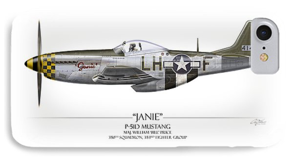 Janie P-51d Mustang - White Background Phone Case by Craig Tinder