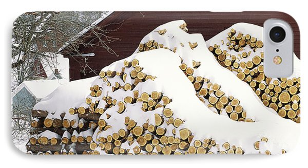 January Woodpile IPhone Case by Alan L Graham