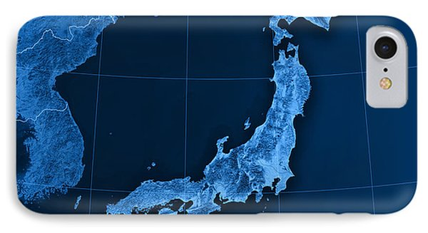 Japan Topographic Map IPhone Case by Frank Ramspott