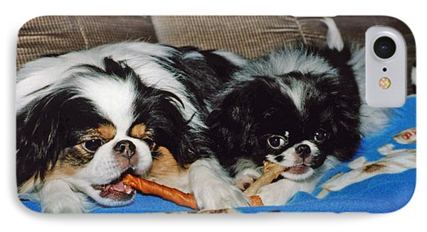 Japanese Chin Dogs Hanging Out Phone Case by Jim Fitzpatrick