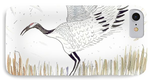 Japanese Crane And Her Nest IPhone Case by Helen Holden-Gladsky