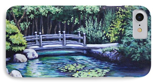 IPhone Case featuring the painting Japanese Garden Bridge San Francisco California by Penny Birch-Williams