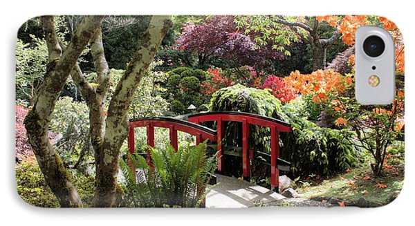 Japanese Garden Bridge With Rhododendrons IPhone Case by Carol Groenen