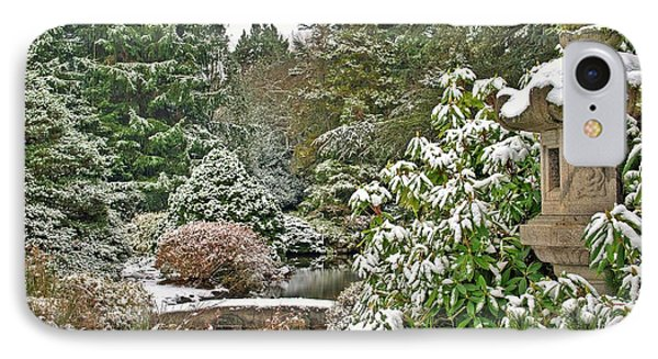 IPhone Case featuring the photograph Japanese Garden Snowfall by Jeff Cook