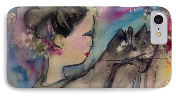 Japanese Lady And Felines IPhone Case by Judith Desrosiers