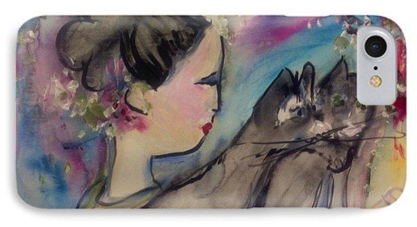 Japanese Lady And Felines IPhone Case