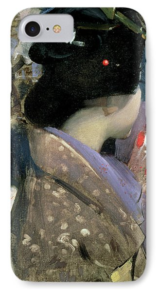 Japanese Lady With A Fan Phone Case by George F Henry