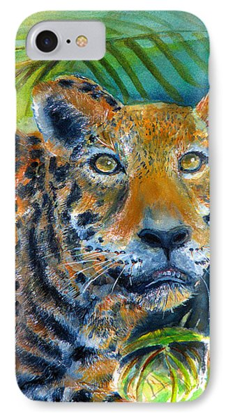 IPhone Case featuring the painting Jaquar On The Prowl by Bernadette Krupa