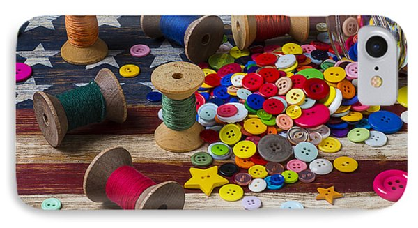 Jar Of Buttons And Spools Of Thread Phone Case by Garry Gay
