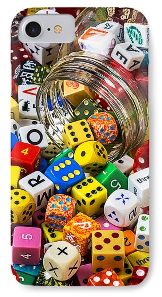 Jar Of Colorful Dice Phone Case by Garry Gay