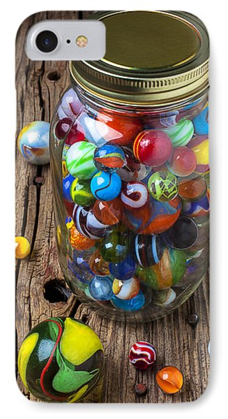Jar Of Marbles With Shooter Phone Case by Garry Gay