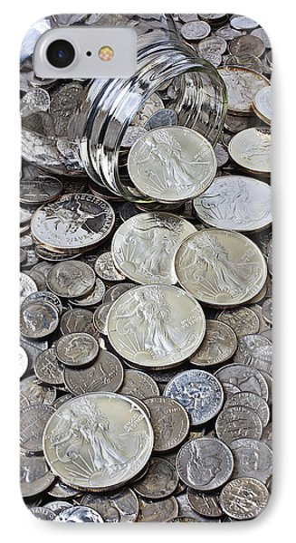 Jar Spilling Silver Coins IPhone Case