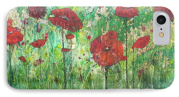 IPhone Case featuring the painting Java Poppy Field by Christy  Freeman