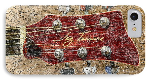 Jay Turser Guitar Head - Red Guitar - Digital Painting Phone Case by Barbara Griffin