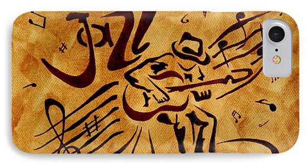 IPhone Case featuring the painting Jazz Abstract Coffee Painting by Georgeta  Blanaru