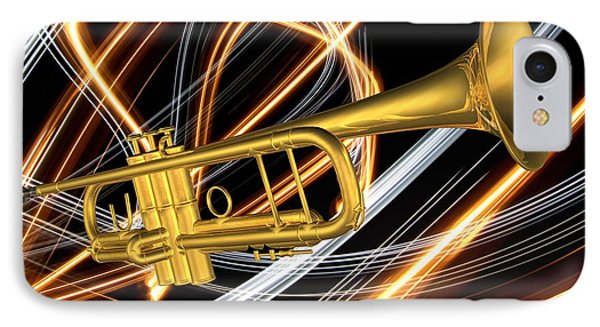 Jazz Art Trumpet IPhone Case by Louis Ferreira