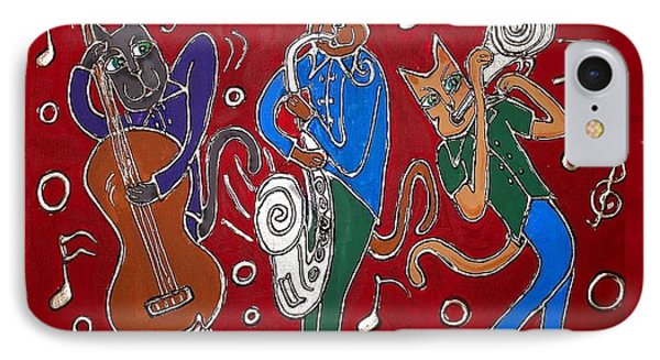 Jazz Cat Trio IPhone Case by Cynthia Snyder