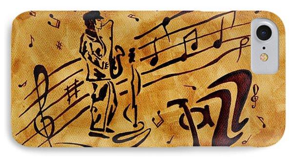 Jazz Coffee Painting Phone Case by Georgeta  Blanaru