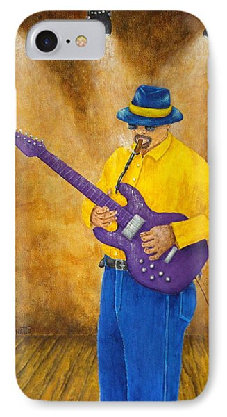 Jazz Guitar Man IPhone Case by Pamela Allegretto