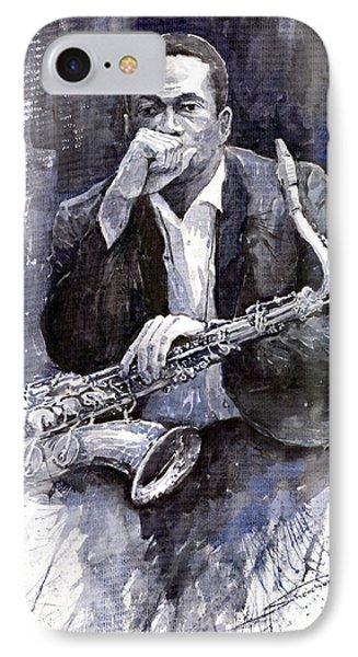 Jazz Saxophonist John Coltrane Black IPhone Case by Yuriy  Shevchuk