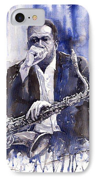 Jazz Saxophonist John Coltrane Blue Phone Case by Yuriy  Shevchuk