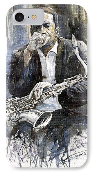 Jazz Saxophonist John Coltrane Yellow IPhone 7 Case by Yuriy  Shevchuk