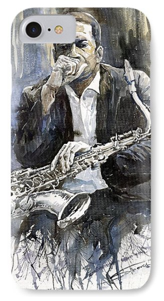Jazz Saxophonist John Coltrane Yellow IPhone Case by Yuriy  Shevchuk
