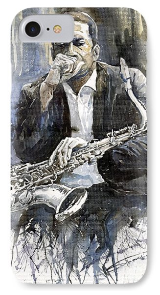 Jazz Saxophonist John Coltrane Yellow IPhone 7 Case by Yuriy  Shevchuk