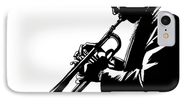 Trumpet iPhone 7 Case - Jazz Trumpet Player-vector Illustration by Isaxar