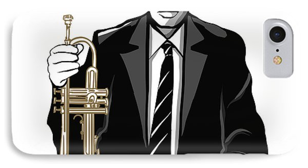 Trumpet iPhone 7 Case - Jazz Trumpet Player - Vector by Isaxar