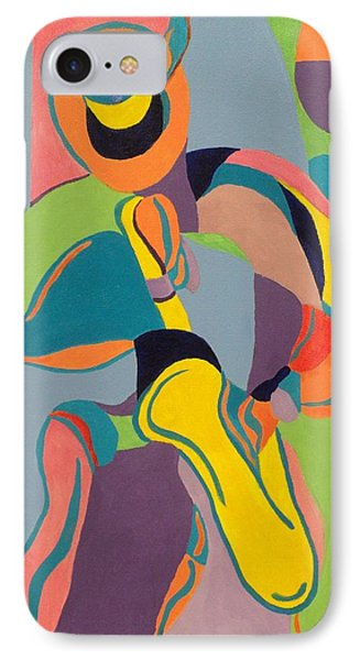 Jazzamatazz Saxophone IPhone Case by Angelo Thomas
