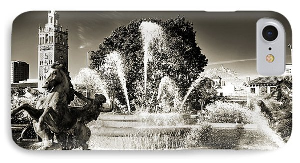 Jc Nichols Memorial Fountain Bw 1 IPhone Case