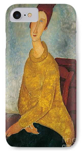 Jeanne Hebuterne In Yellow Sweater IPhone Case by Amedeo Modigliani