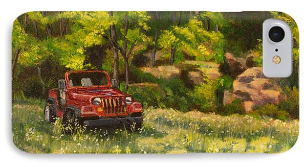 Jeep By The Bluff Phone Case by Janet Felts