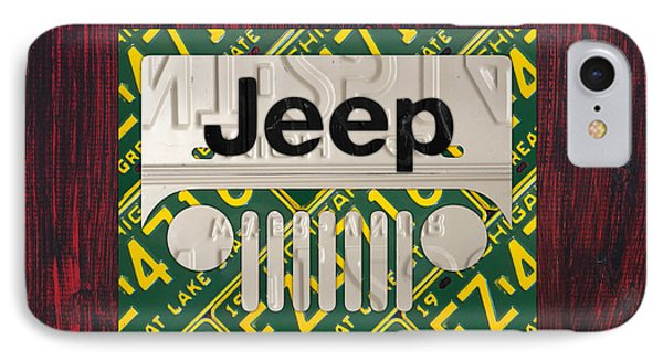 Jeep Vintage Logo Recycled License Plate Art IPhone Case by Design Turnpike