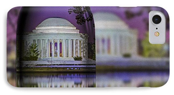 Jefferson Memorial In A Bottle IPhone Case by Susan Candelario